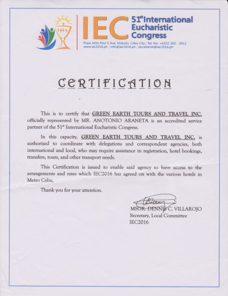 Green Earth Tours and Travel is an accredited service provider of IEC2016.