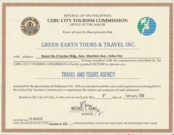 2016 CCTC Accreditation Certificate_Green Earth Tours and Travel