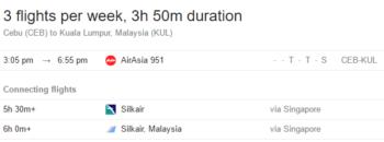 Flight schedule from Cebu to Kuala Lumpur, subject to change