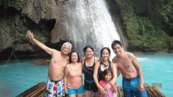 Cooling off the fresh waters of Kawasan Falls after swimming with the whalesharks in Oslob