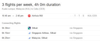 Flight schedule from Kuala Lumpur to Cebu, subject to change