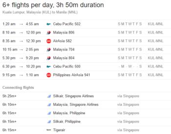 Flight schedule from Kuala Lumpur to Manila, subject to change