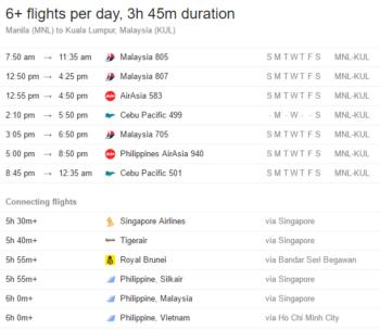 Flight schedule from Manila to Kuala Lumpur, subject to change